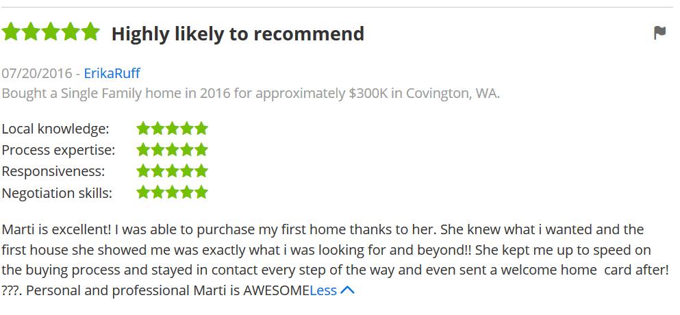 ErikaRuff recommends Covington Realtor Marti Reeder of John L. Scott on Zillow.