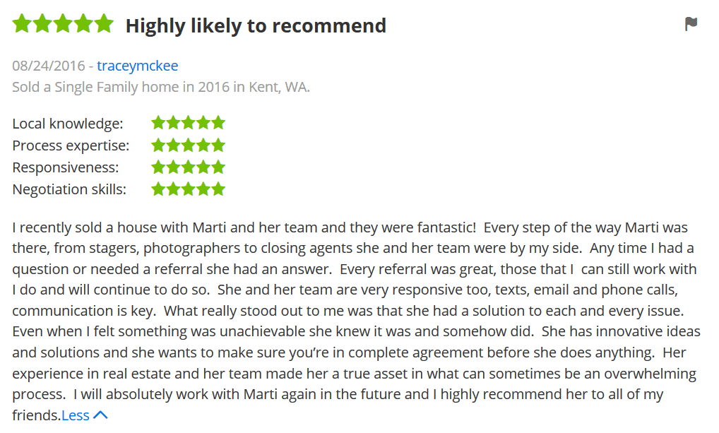 Zillow Review for Kent Realtor Marti Reeder