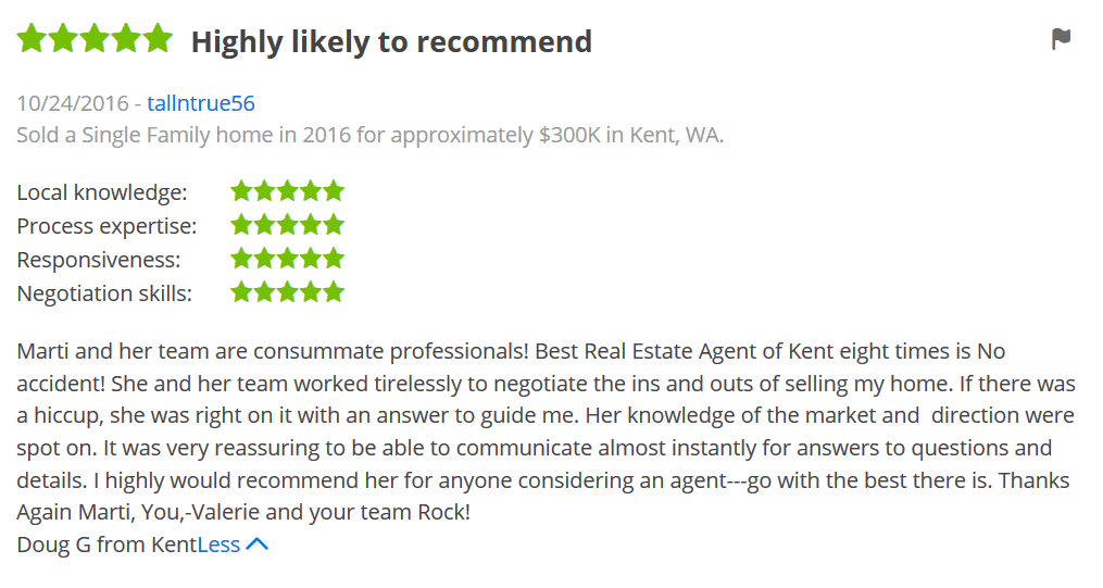 Zillow testimonial: another five-star review from a satisfied client